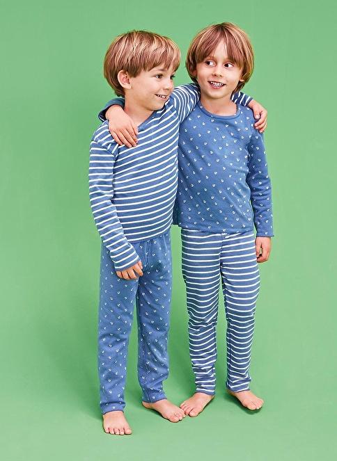 Tchibo Çift Taraflı Pijama Takımı Mavi